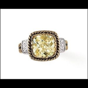 Jewelry - New Yellow Chiffon Crystal Gold Silver Ring Sz 8